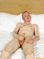 Short-haired european boy jack off his penis