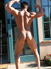 Muscle man jacking off cock outdoors