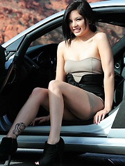 Kami Li is a sexy half asian first timer that masturbates in front of a sport car
