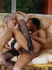 Silver granny riding young dick with big pleasure