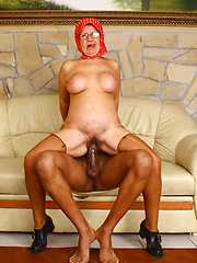 Hungry granny Renata taking hard black cock