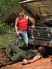 Hunk gays have wild anal outdoor session