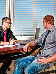 Two beefy gay buddies fucking on the office table