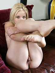 Blonde beauty Alyssa Branch tasting her vagina and tight anal