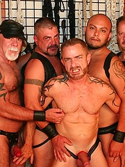 Hairy guys gangbang on tight asshole