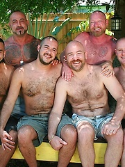 Six horny and hairy guys on a hot and humid afternoon