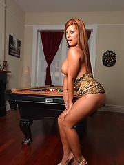 Briana showing her sexuality on pool table