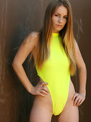 What does Skyler like more...her bright yellow one-piece thong, or being naked for the camera?