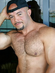 Big latin hunk shows his haity muscled chest