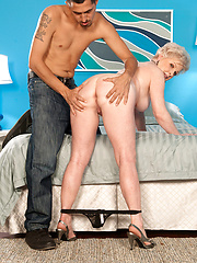 Hot blond granny with younger stud