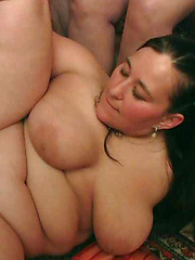 BBW party babes get drunk at the bar and have an orgy with three of the guys there