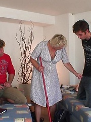 The cleaning lady shows up but they don\'t let her do anything but suck and fuck