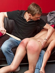 Brunette boy gets spanked by perverted daddy