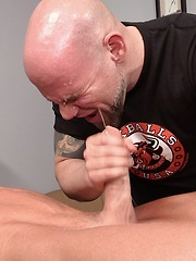 Massage and handjob from bald cock-hungry dude