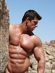 Muscular porn star Zeb Atlas erotic photo session at th desert
