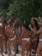Six horny brazilian sluts go for wild sex