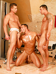 Thre muscled hunks fuck